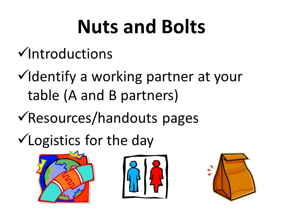 Nuts and Bolts Introductions Identify a working partner at your table (A and B partners) Resources/handouts pages Logistics for the day
