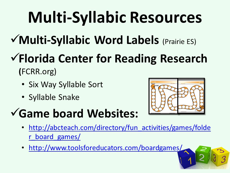 Multi-Syllabic Resources Multi-Syllabic Word Labels (Prairie ES) Florida Center for Reading Research (FCRR.org) Six Way Syllable Sort Syllable Snake Game board Websites: http://abcteach.com/directory/fun_activities/games/folde r_board_games/ http://abcteach.com/directory/fun_activities/games/folde r_board_games/ http://www.toolsforeducators.com/boardgames/