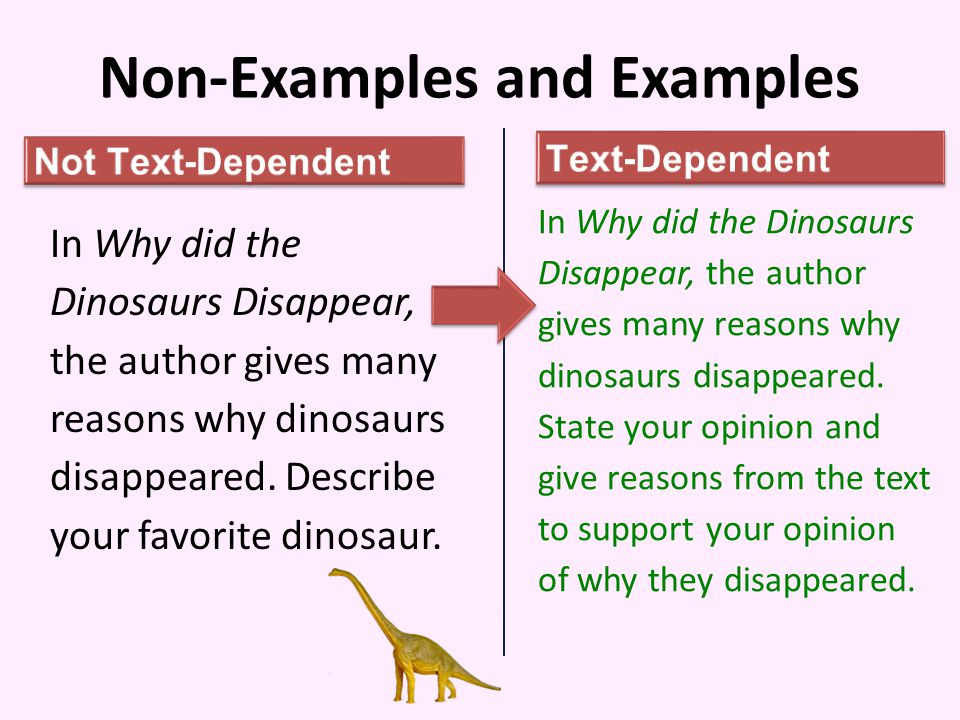Non-Examples and Examples In Why did the Dinosaurs Disappear, the author gives many reasons why dinosaurs disappeared.