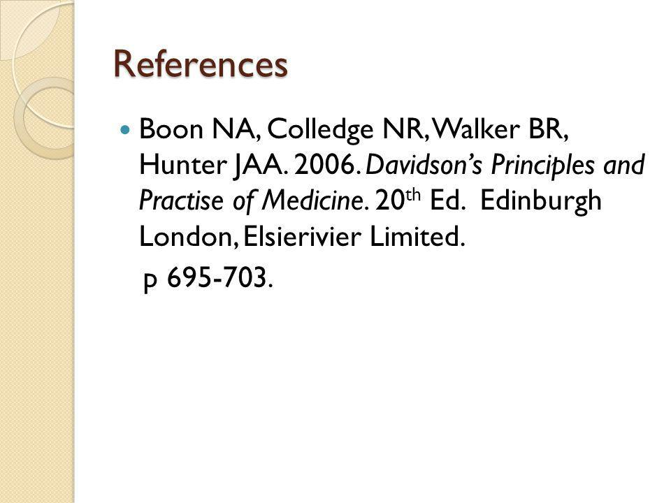 References Boon NA, Colledge NR, Walker BR, Hunter JAA.