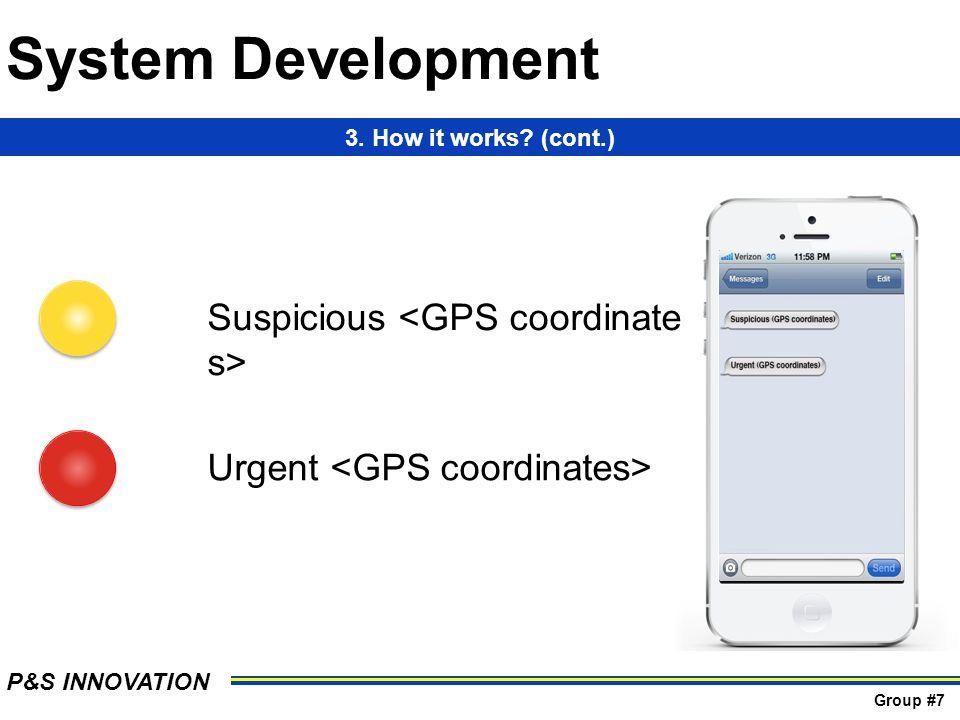 Suspicious Urgent 3. How it works (cont.) System Development P&S INNOVATION Group #7
