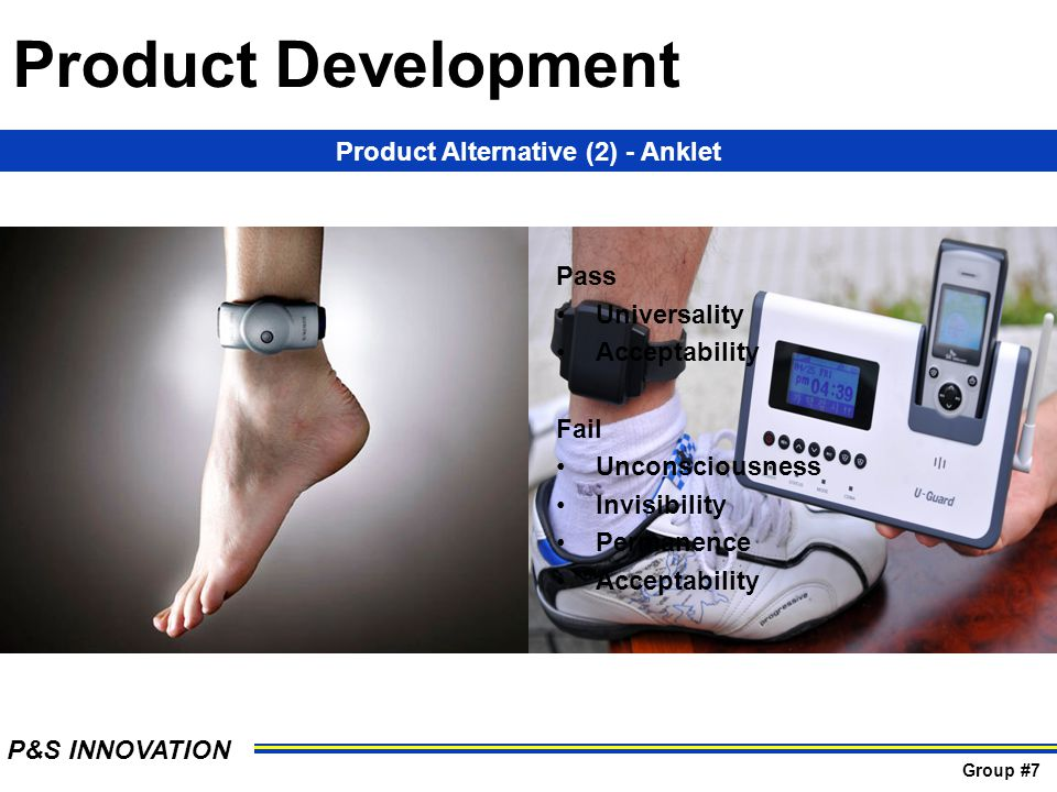 Product Alternative (2) - Anklet Pass Universality Acceptability Fail Unconsciousness Invisibility Permanence Acceptability Product Development P&S IN