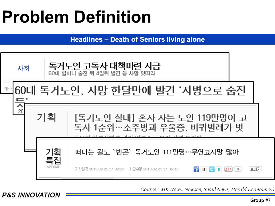 Headlines – Death of Seniors living alone (source : MK News, Newsen, Seoul News, Herald Economics ) P&S INNOVATION Group #7