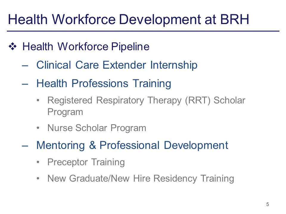 Health Workforce Development at BRH Health Workforce Pipeline –Clinical Care Extender Internship –Health Professions Training Registered Respiratory Therapy (RRT) Scholar Program Nurse Scholar Program –Mentoring & Professional Development Preceptor Training New Graduate/New Hire Residency Training 5