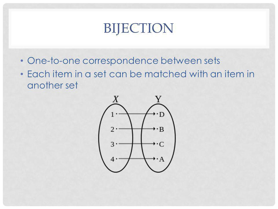 BIJECTION One-to-one correspondence between sets Each item in a set can be matched with an item in another set