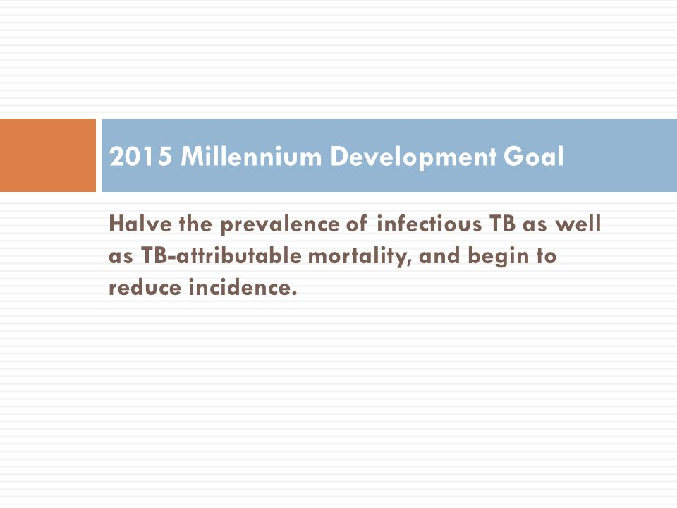 Halve the prevalence of infectious TB as well as TB-attributable mortality, and begin to reduce incidence. 2015 Millennium Development Goal