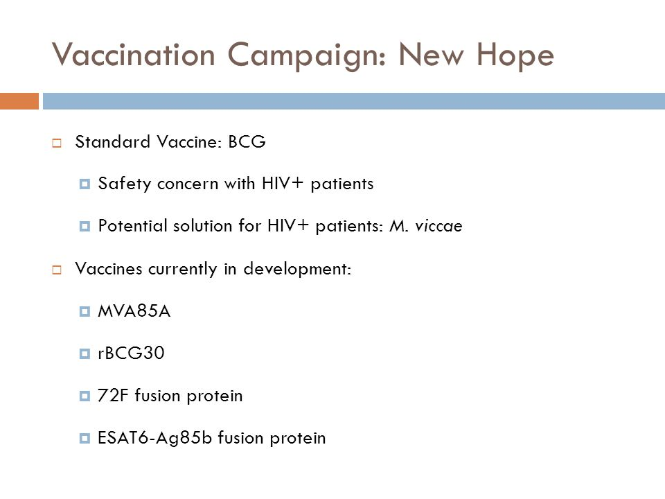 Vaccination Campaign: New Hope Standard Vaccine: BCG Safety concern with HIV+ patients Potential solution for HIV+ patients: M. viccae Vaccines curren