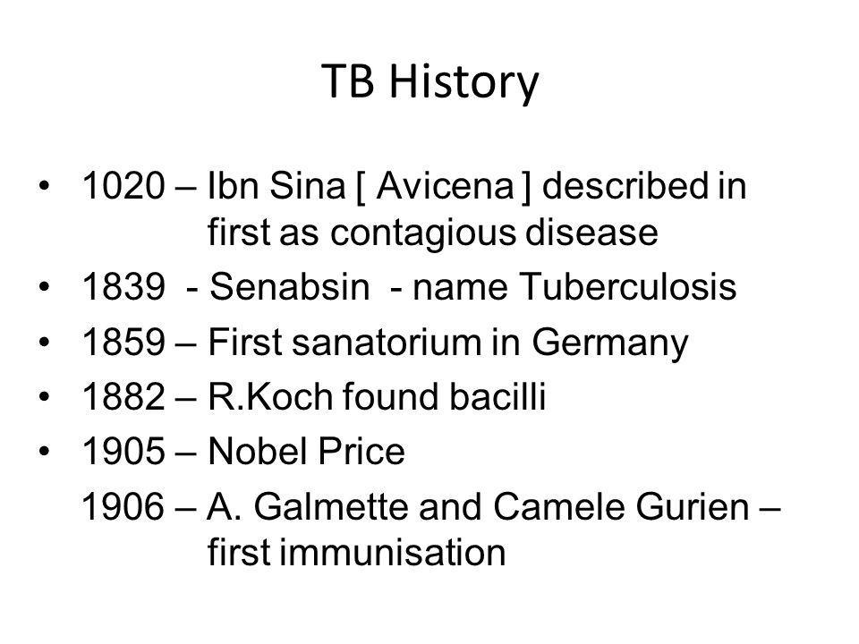 TB History 1907 – National TB Association founded in US and Canada 1921 – First human vaccination used in France 1946 – Streptomycin was developed 80s – Drug resistance appeared The 20 th _ TB kills more than 100 million people