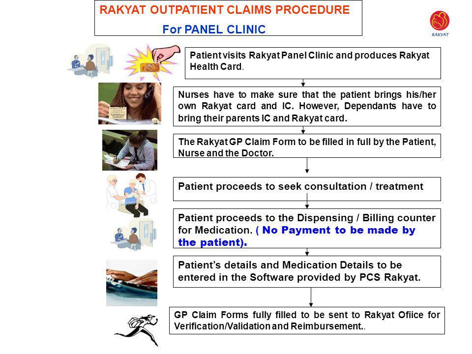 26 RAKYAT OUTPATIENT CLAIMS PROCEDURE For PANEL CLINIC Patient visits Rakyat Panel Clinic and produces Rakyat Health Card. Nurses have to make sure th