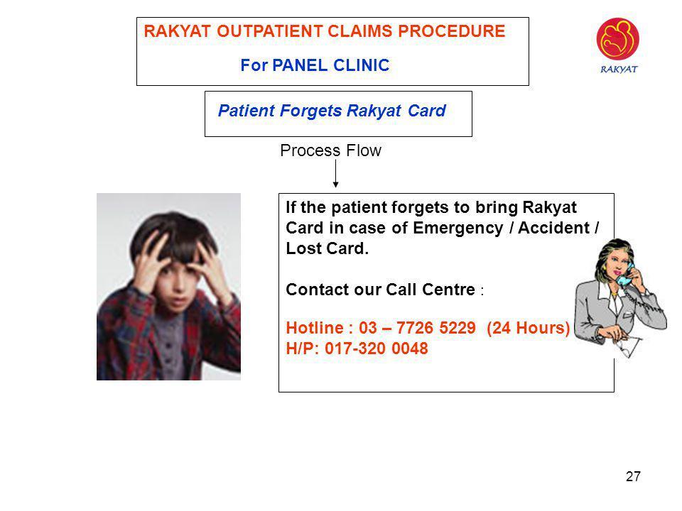 27 RAKYAT OUTPATIENT CLAIMS PROCEDURE For PANEL CLINIC Patient Forgets Rakyat Card Process Flow If the patient forgets to bring Rakyat Card in case of