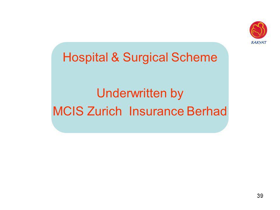 39 Hospital & Surgical Scheme Underwritten by MCIS Zurich Insurance Berhad