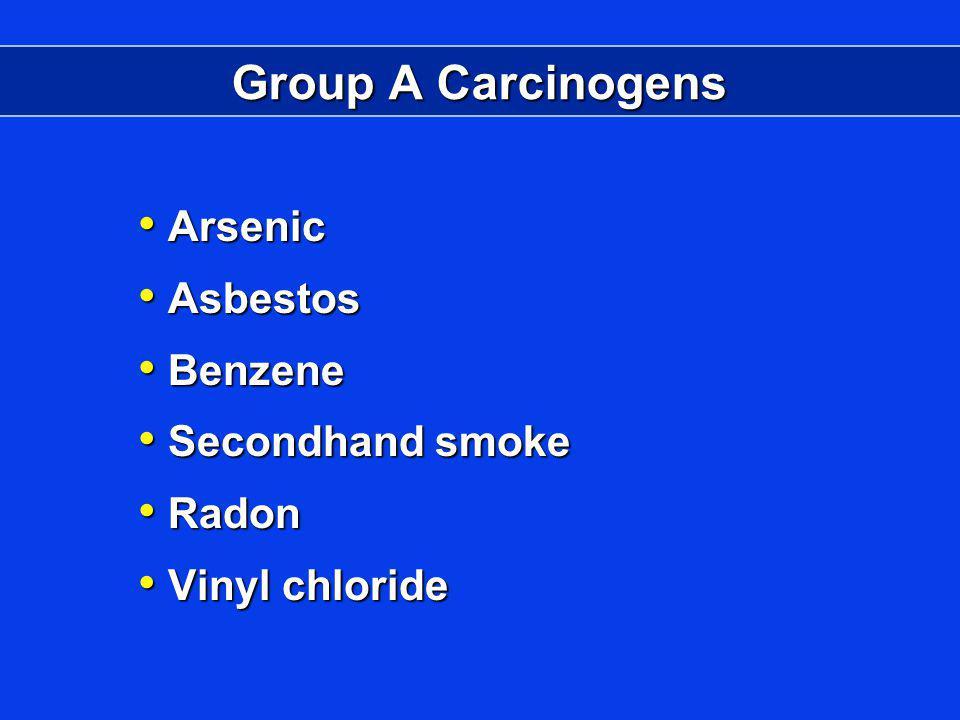 Group A Carcinogens Arsenic Arsenic Asbestos Asbestos Benzene Benzene Secondhand smoke Secondhand smoke Radon Radon Vinyl chloride Vinyl chloride