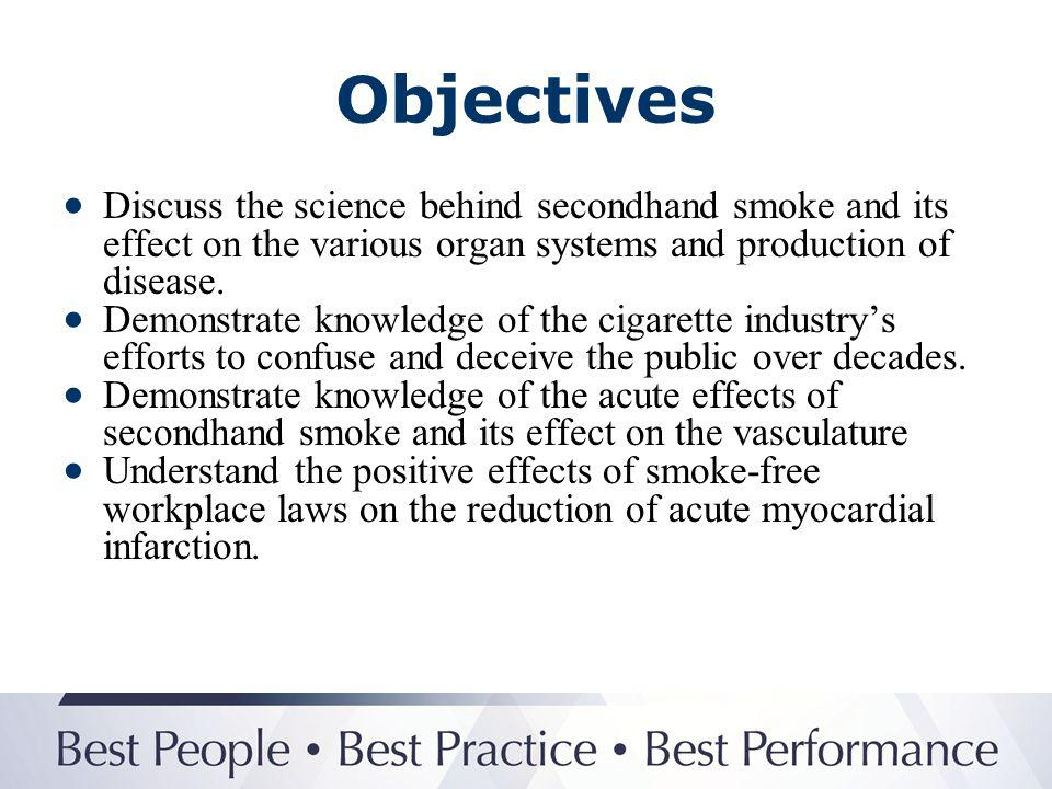 Objectives Discuss the science behind secondhand smoke and its effect on the various organ systems and production of disease.