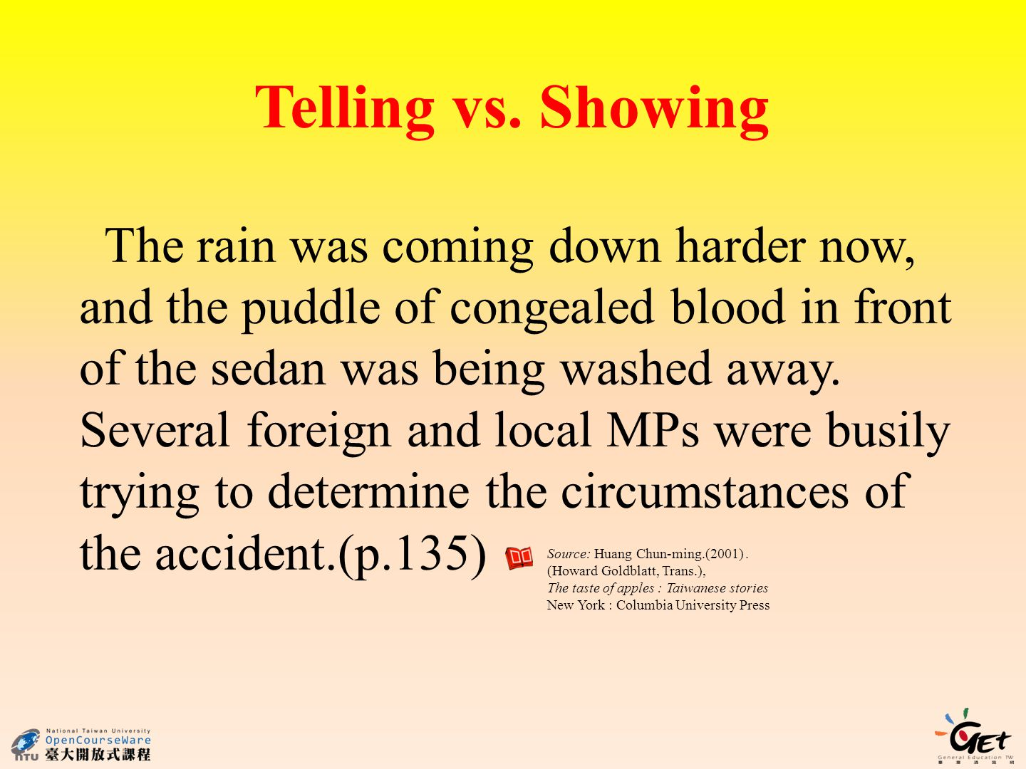 Telling vs. Showing The rain was coming down harder now, and the puddle of congealed blood in front of the sedan was being washed away. Several foreig