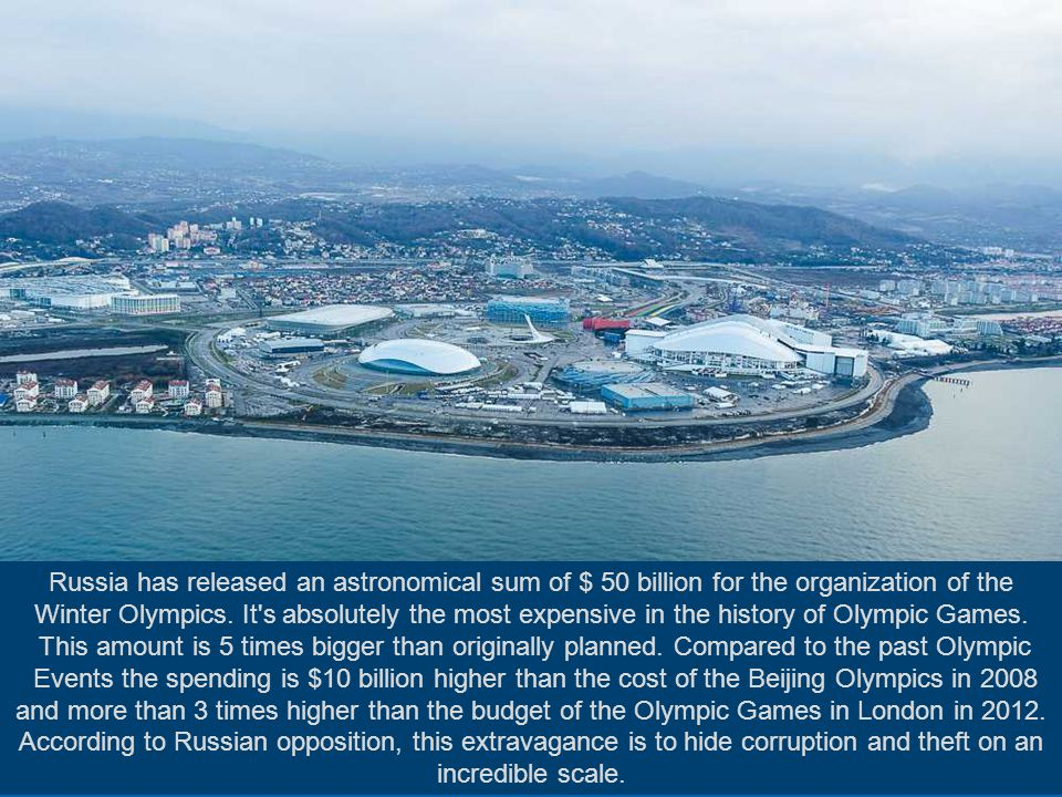 In the Russian resort of Sochi, the building of the massive sports complex will soon be finished. The town, which until recently was known for its san