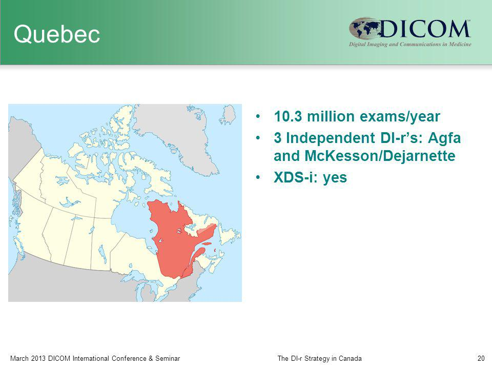 Quebec 10.3 million exams/year 3 Independent DI-rs: Agfa and McKesson/Dejarnette XDS-i: yes March 2013 DICOM International Conference & SeminarThe DI-