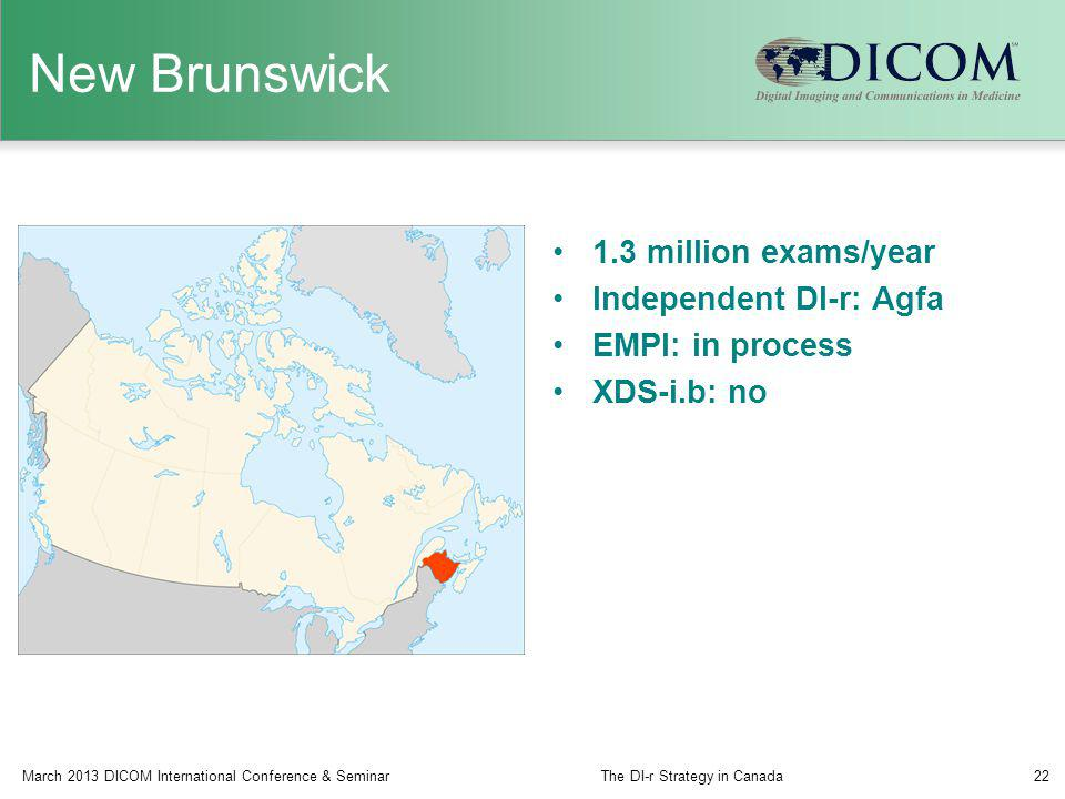 New Brunswick 1.3 million exams/year Independent DI-r: Agfa EMPI: in process XDS-i.b: no March 2013 DICOM International Conference & SeminarThe DI-r S