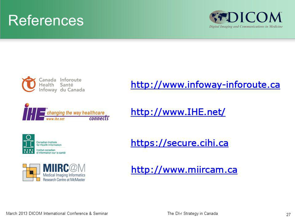 References March 2013 DICOM International Conference & SeminarThe DI-r Strategy in Canada 27 http://www.IHE.net/ https://secure.cihi.ca http://www.inf