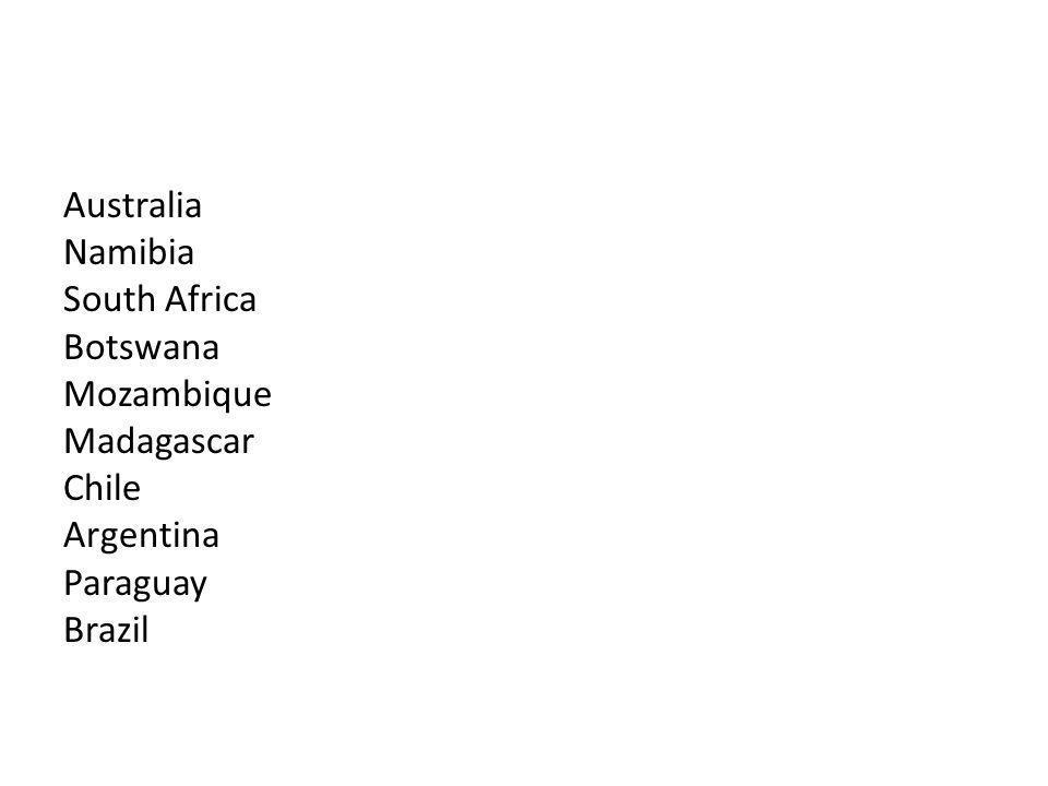 Australia Namibia South Africa Botswana Mozambique Madagascar Chile Argentina Paraguay Brazil