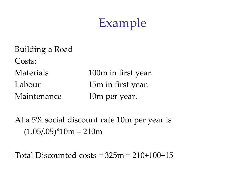Example Building a Road Costs: Materials 100m in first year. Labour15m in first year. Maintenance10m per year. At a 5% social discount rate 10m per ye