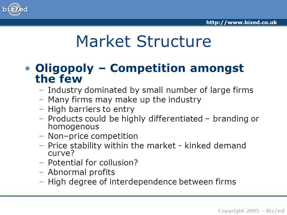 http://www.bized.co.uk Copyright 2005 – Biz/ed Market Structure Oligopoly – Competition amongst the few –Industry dominated by small number of large f