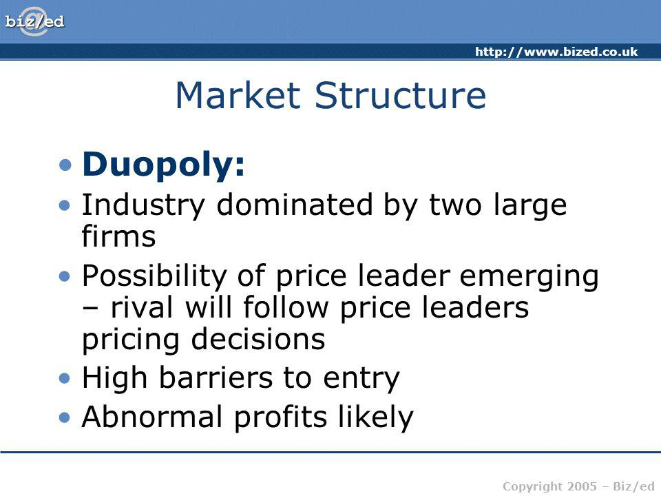 http://www.bized.co.uk Copyright 2005 – Biz/ed Market Structure Duopoly: Industry dominated by two large firms Possibility of price leader emerging –