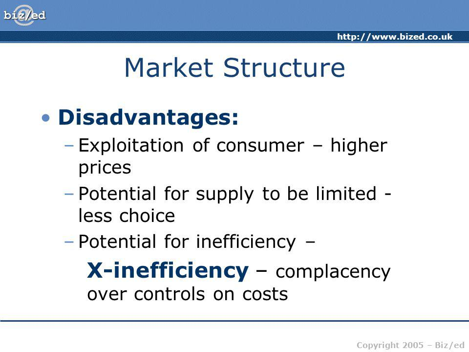 http://www.bized.co.uk Copyright 2005 – Biz/ed Market Structure Disadvantages: –Exploitation of consumer – higher prices –Potential for supply to be l