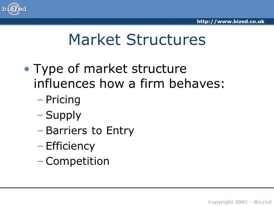 http://www.bized.co.uk Copyright 2005 – Biz/ed Market Structures Type of market structure influences how a firm behaves: –Pricing –Supply –Barriers to