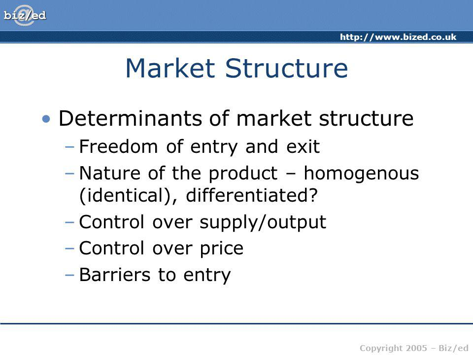 http://www.bized.co.uk Copyright 2005 – Biz/ed Market Structure Determinants of market structure –Freedom of entry and exit –Nature of the product – h