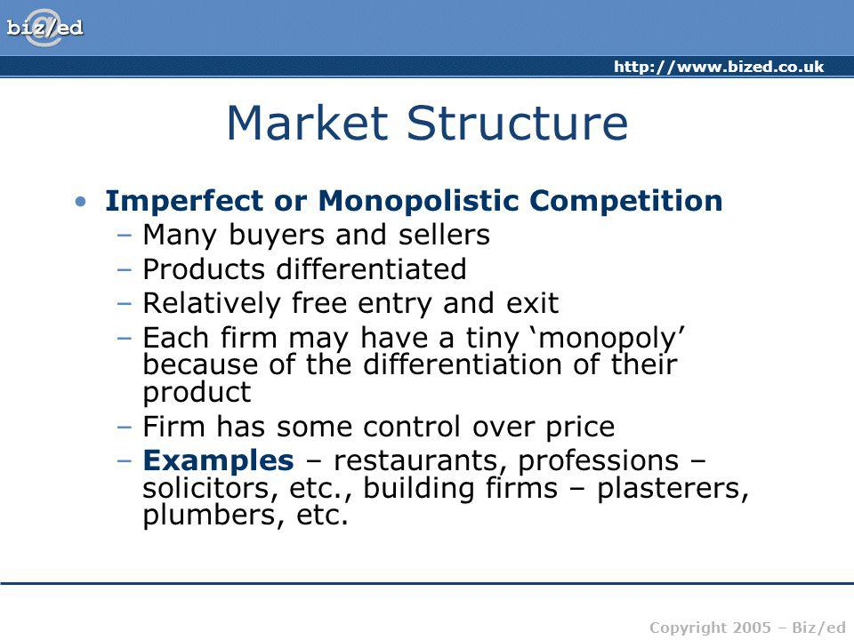 http://www.bized.co.uk Copyright 2005 – Biz/ed Market Structure Imperfect or Monopolistic Competition –Many buyers and sellers –Products differentiate