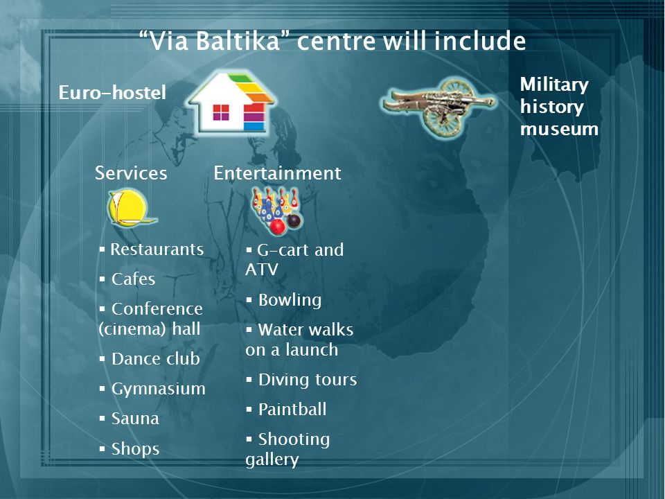 Via Baltika centre will include Euro-hostel Military history museum Services Restaurants Cafes Conference (cinema) hall Dance club Gymnasium Sauna Shops Entertainment G-cart and ATV Bowling Water walks on a launch Diving tours Paintball Shooting gallery