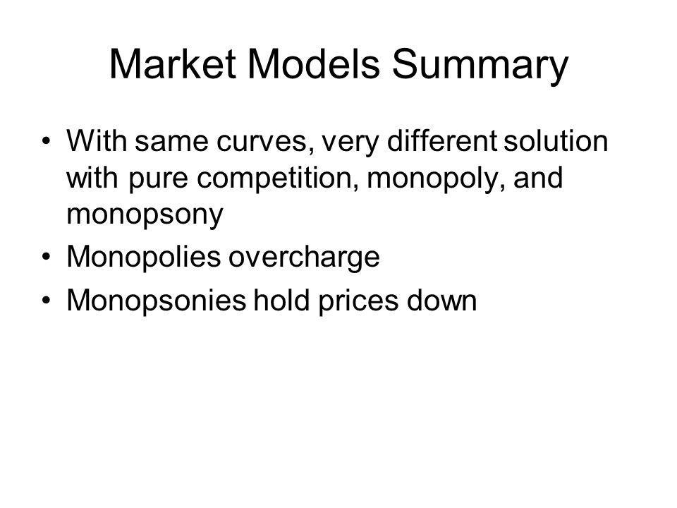 Elements of market structure Seller concentration – concentration ratio – market share by n leading firms, n= 4, 8, 20, 50 Lots of ways for this to vary –Four equal firms –One big, three smaller –Two big, two smaller – beef packing, poultry