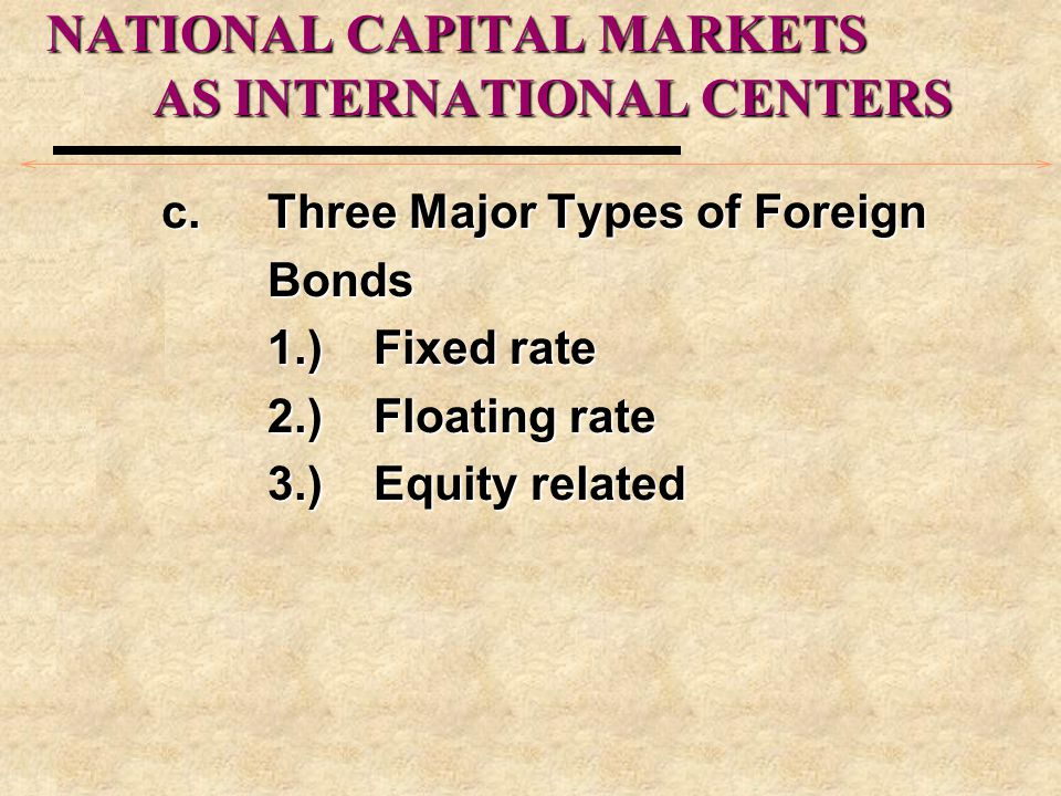 NATIONAL CAPITAL MARKETS AS INTERNATIONAL CENTERS c.Three Major Types of Foreign Bonds 1.)Fixed rate 2.)Floating rate 3.)Equity related