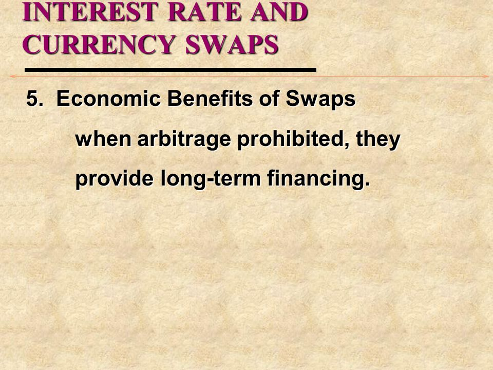 INTEREST RATE AND CURRENCY SWAPS 5. Economic Benefits of Swaps when arbitrage prohibited, they provide long-term financing.