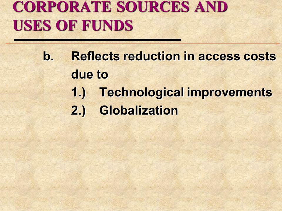 CORPORATE SOURCES AND USES OF FUNDS b.Reflects reduction in access costs due to 1.)Technological improvements 2.)Globalization