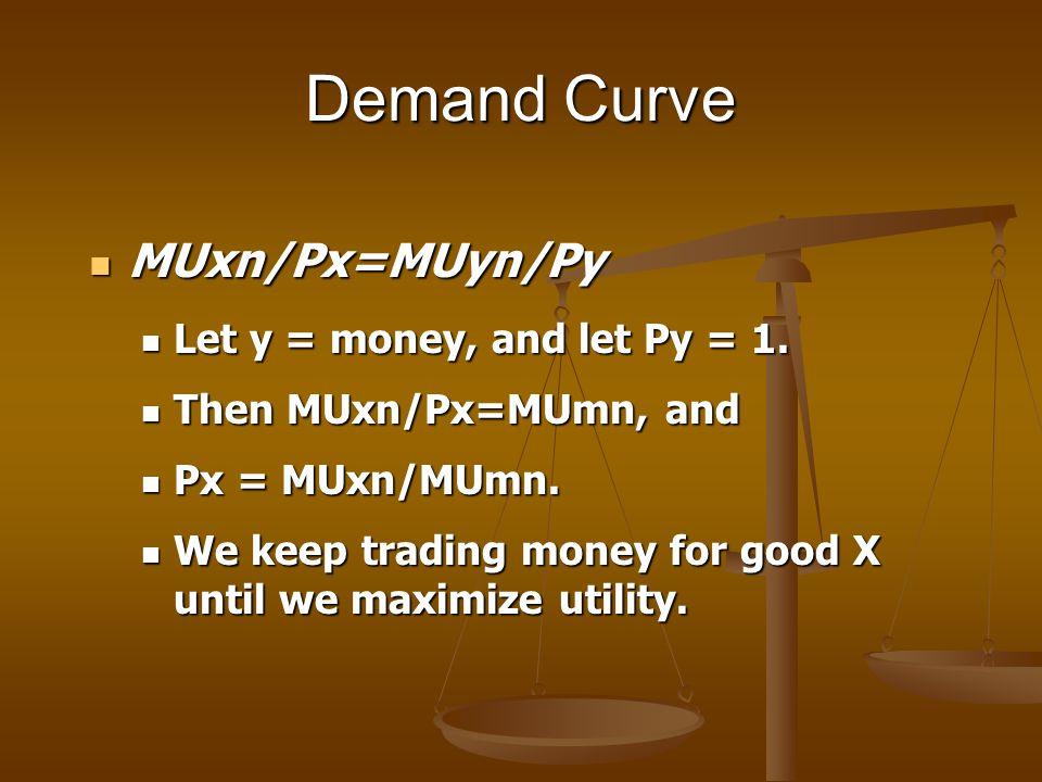 Demand Curve MUxn/Px=MUyn/Py MUxn/Px=MUyn/Py Let y = money, and let Py = 1. Let y = money, and let Py = 1. Then MUxn/Px=MUmn, and Then MUxn/Px=MUmn, a