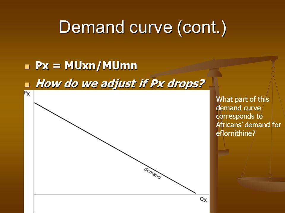 Demand curve (cont.) Px = MUxn/MUmn Px = MUxn/MUmn How do we adjust if Px drops? How do we adjust if Px drops? What part of this demand curve correspo