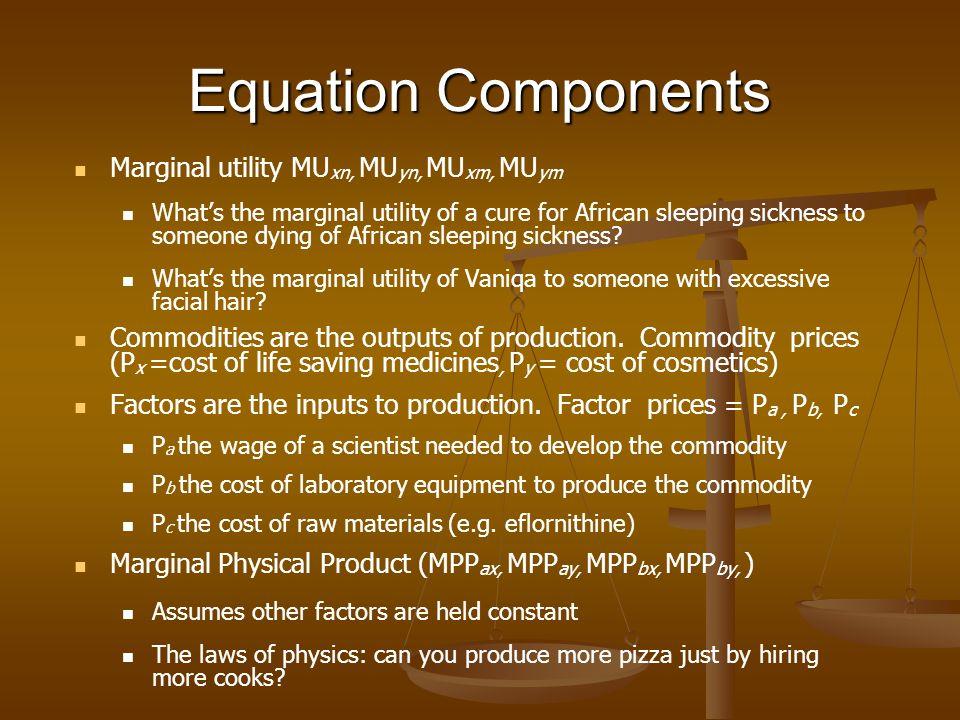 Equation Components Marginal utility MU xn, MU yn, MU xm, MU ym Whats the marginal utility of a cure for African sleeping sickness to someone dying of