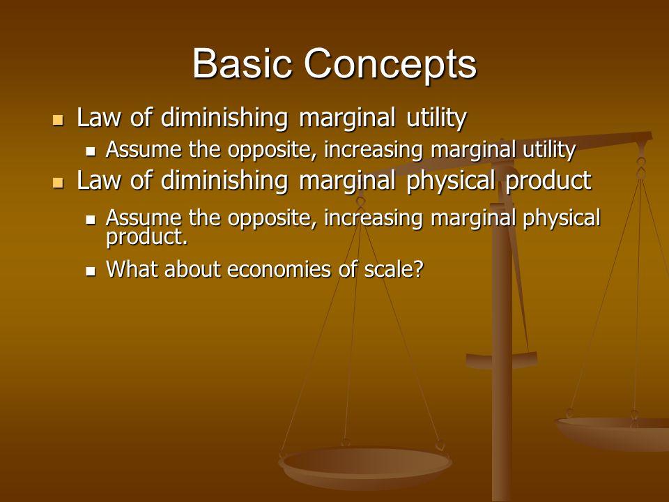 Basic Concepts Law of diminishing marginal utility Law of diminishing marginal utility Assume the opposite, increasing marginal utility Assume the opp