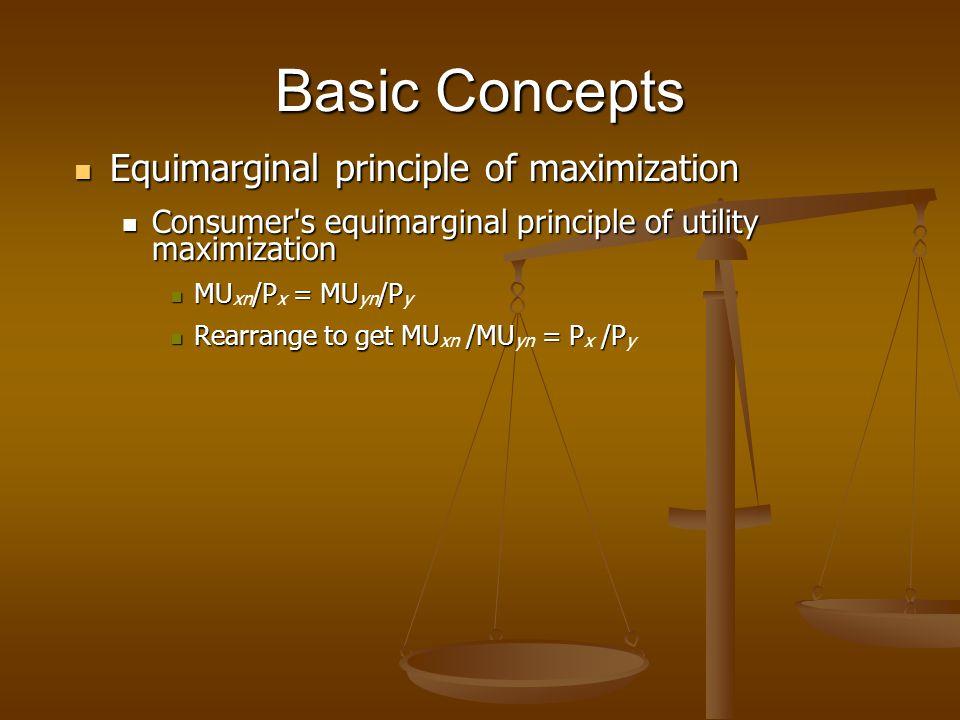 Basic Concepts Equimarginal principle of maximization Equimarginal principle of maximization Consumer's equimarginal principle of utility maximization
