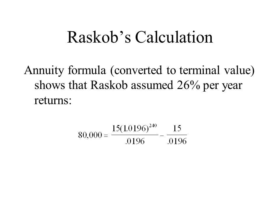 Raskobs Calculation Annuity formula (converted to terminal value) shows that Raskob assumed 26% per year returns:
