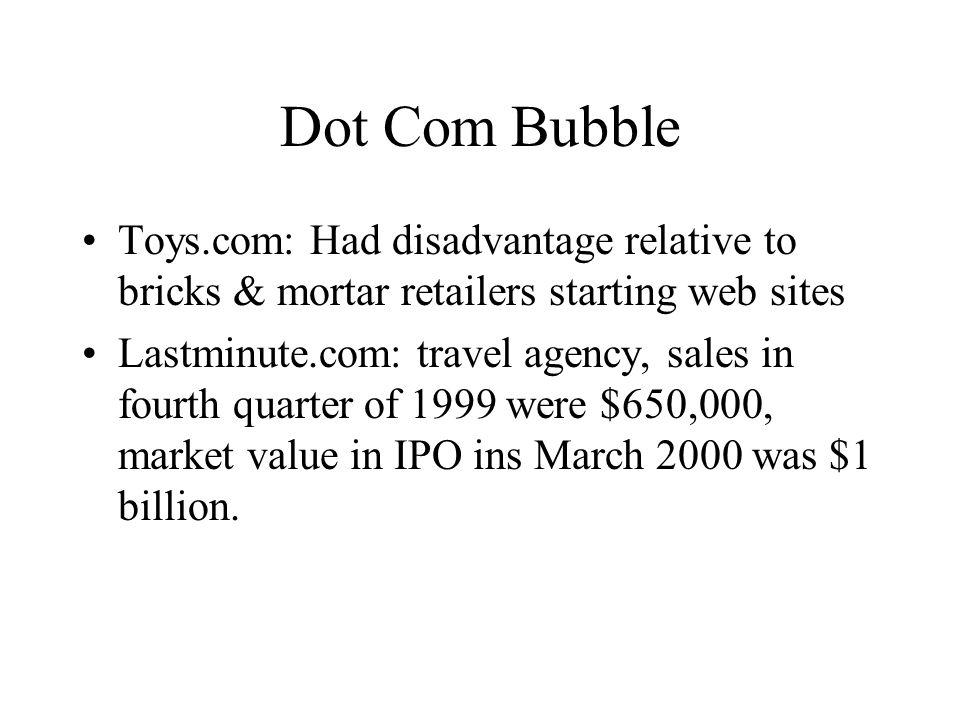 Dot Com Bubble Toys.com: Had disadvantage relative to bricks & mortar retailers starting web sites Lastminute.com: travel agency, sales in fourth quar