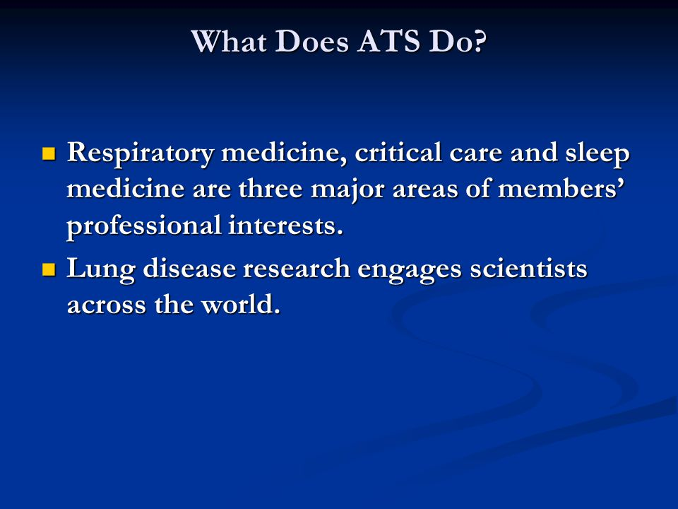 Respiratory medicine, critical care and sleep medicine are three major areas of members professional interests.