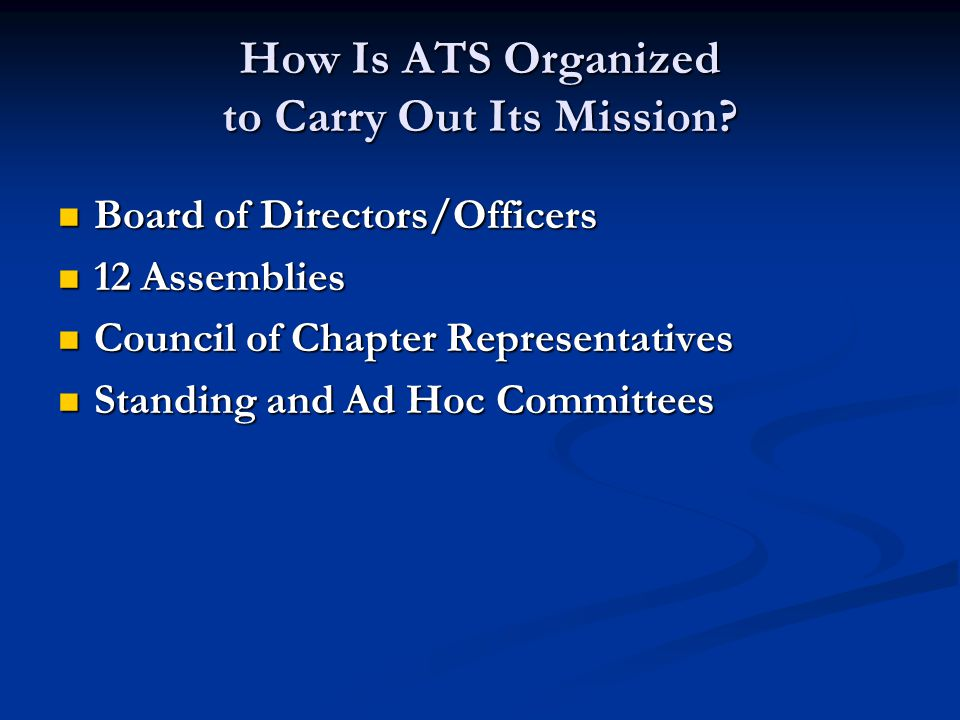 Board of Directors/Officers Board of Directors/Officers 12 Assemblies 12 Assemblies Council of Chapter Representatives Council of Chapter Representatives Standing and Ad Hoc Committees Standing and Ad Hoc Committees