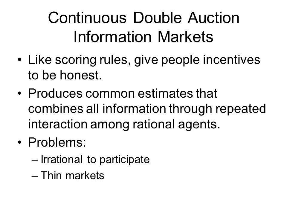 Hansons Market Scoring Rule (MSR) Market maker establishes initial distribution.