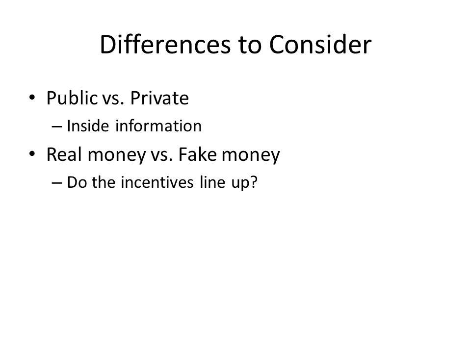 Differences to Consider Public vs. Private – Inside information Real money vs.