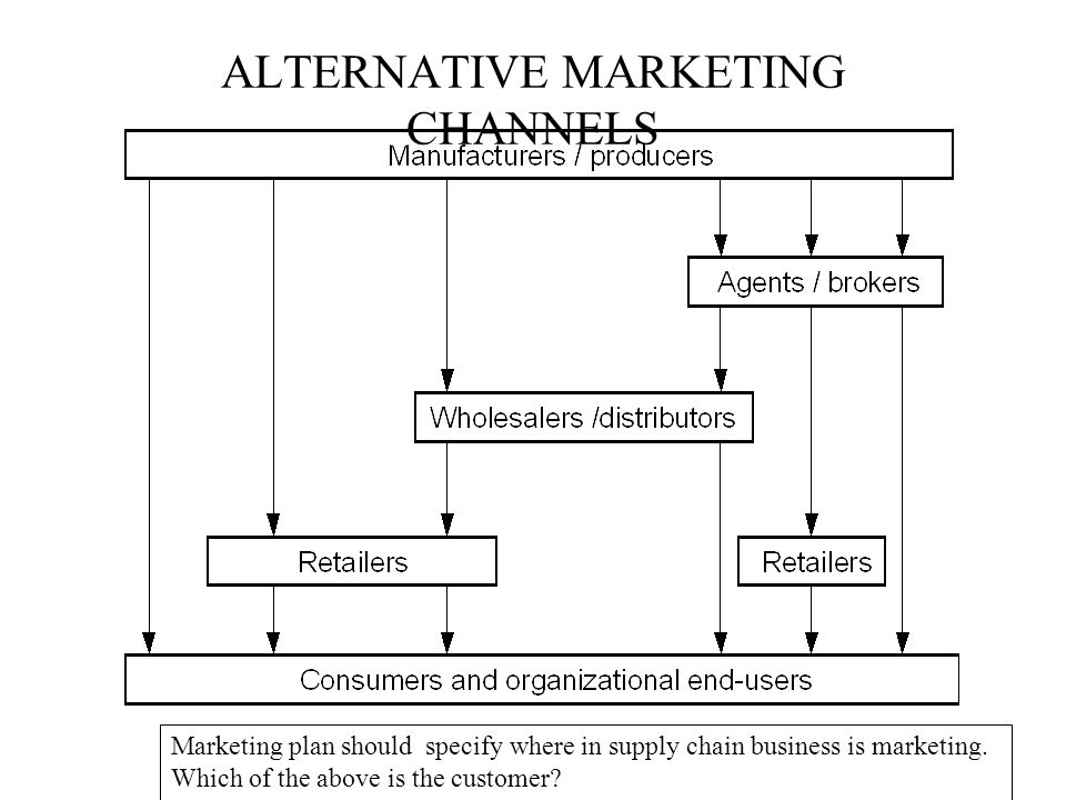 ALTERNATIVE MARKETING CHANNELS Marketing plan should specify where in supply chain business is marketing. Which of the above is the customer?