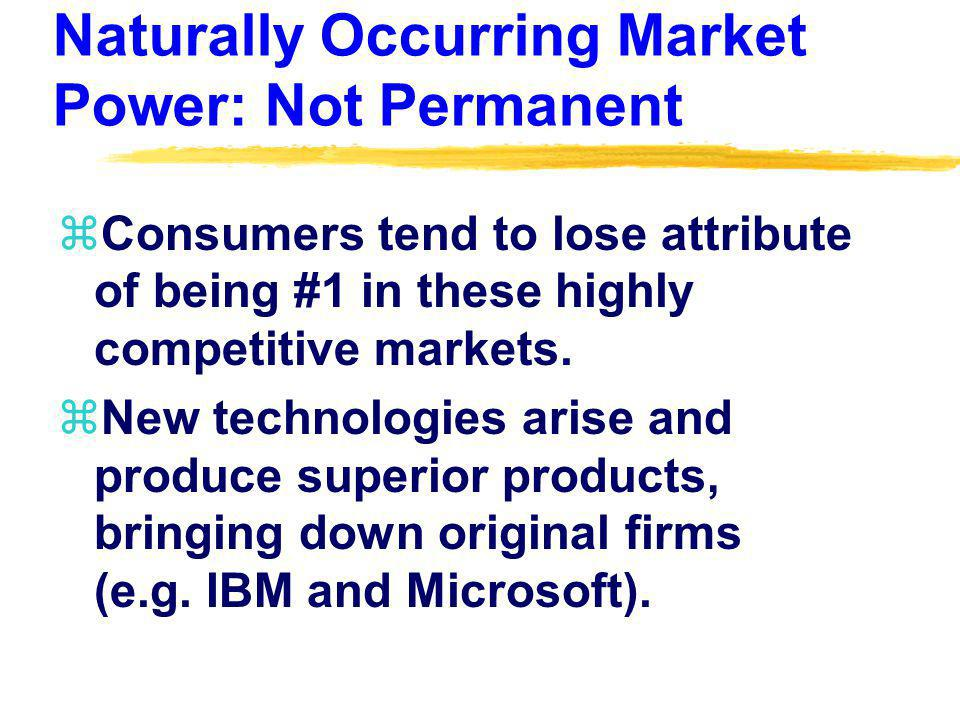 Artificially Occurring Market Power zArtificially Occurring Market Power – market power stemming from institutional restrictions or social perceptions.