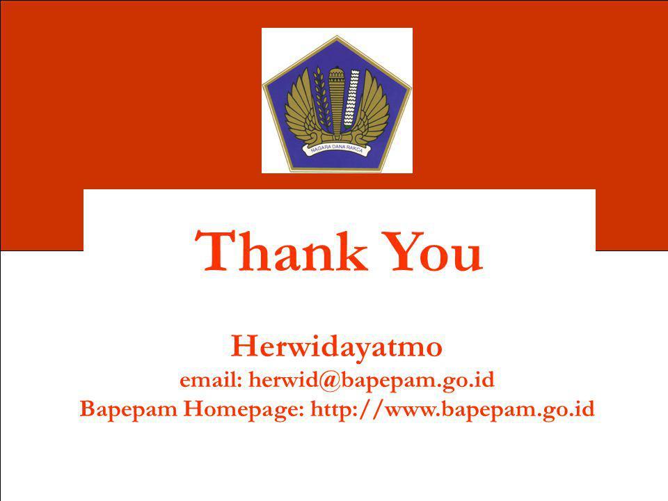 Thank You Herwidayatmo email: herwid@bapepam.go.id Bapepam Homepage: http://www.bapepam.go.id
