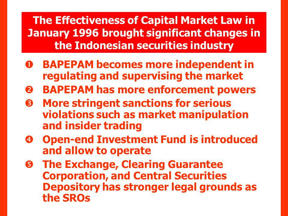 The Effectiveness of Capital Market Law in January 1996 brought significant changes in the Indonesian securities industry BAPEPAM becomes more independent in regulating and supervising the market BAPEPAM has more enforcement powers More stringent sanctions for serious violations such as market manipulation and insider trading Open-end Investment Fund is introduced and allow to operate The Exchange, Clearing Guarantee Corporation, and Central Securities Depository has stronger legal grounds as the SROs